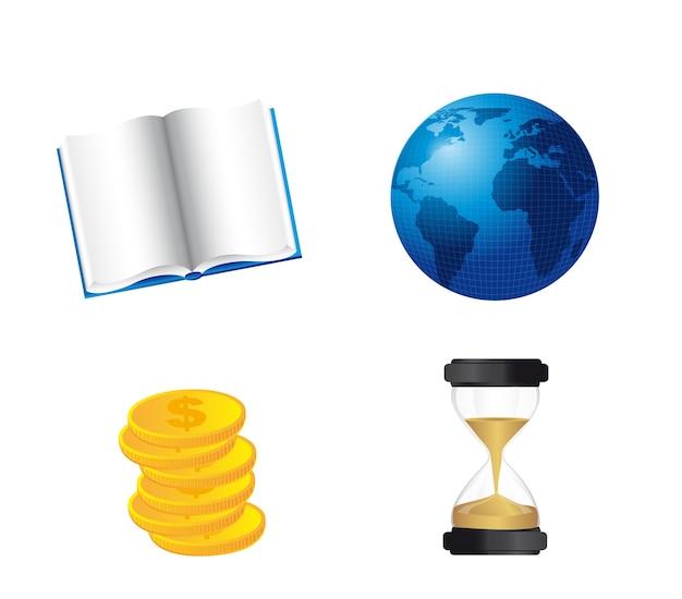 Monde du livre avec des pièces de monnaie et un sablier isolé