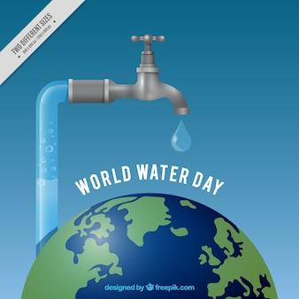 Monde de l'eau réaliste robinet jour fond