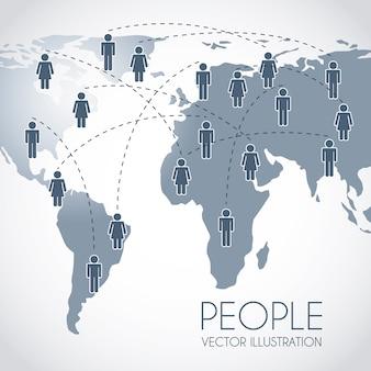 Monde avec homme signe au cours de l'illustration vectorielle fond gris
