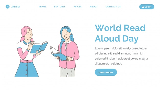 Monde lu à haute voix modèle de page de destination. femmes lisant des livres, appréciant les romans.