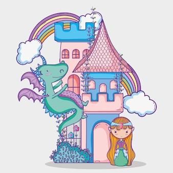 Monde magique petite princesse dessin à la main
