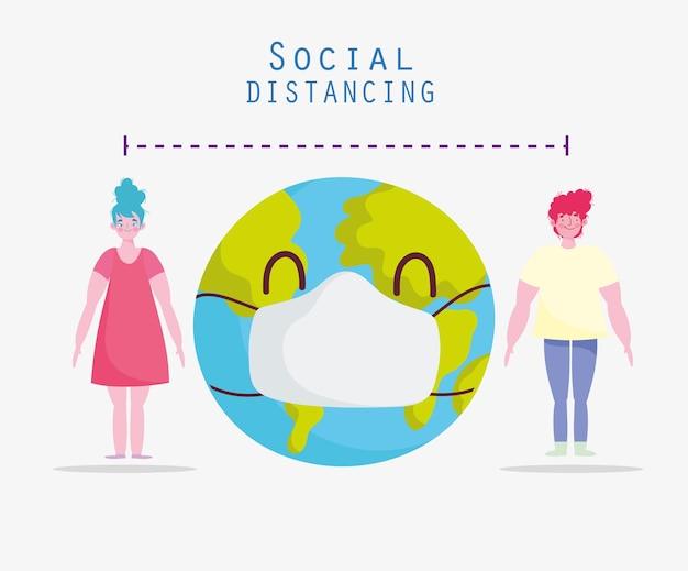 Le monde masque la distanciation sociale
