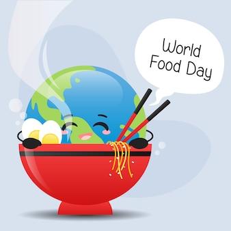 Monde mignon heureux dans un bol de nouilles au vecteur d'illustration de la journée mondiale de la nourriture