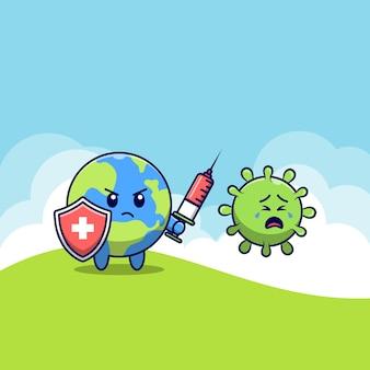 Monde mignon lutte contre le coronavirus