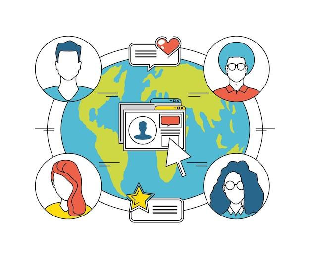 Monde de personnes de médias sociaux connecté