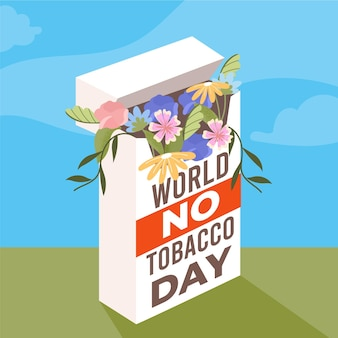 Monde plat sans illustration de la journée du tabac