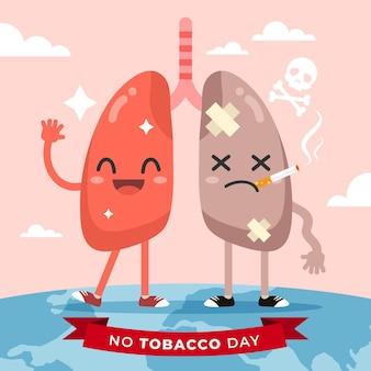 Monde Plat Sans Illustration De La Journée Du Tabac Vecteur gratuit