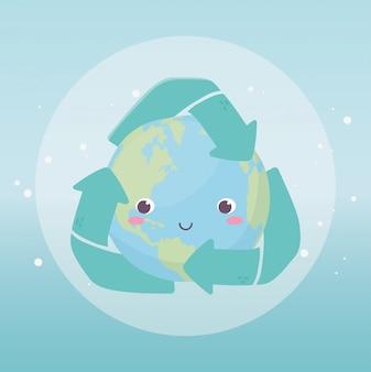 Monde avec recyclage flèches environnement écologie dessin animé design