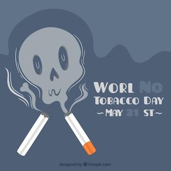 Monde sans fond de jour du tabac avec crâne de fumée