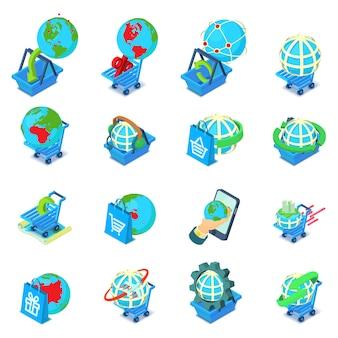 Monde shopping jeu d'icônes