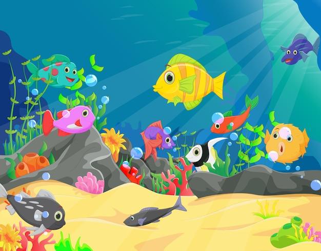 Monde sous-marin avec des coraux et des poissons tropicaux