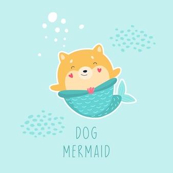 Monde sous-marin fantastique de chien sirène mignon