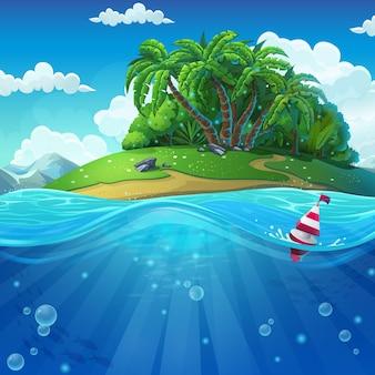 Monde sous-marin avec île