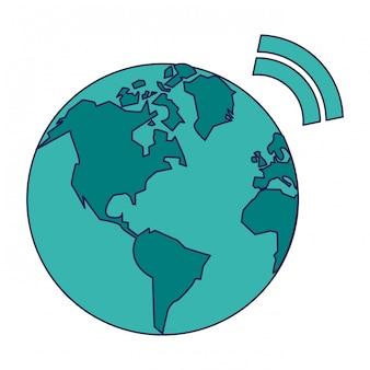 Monde avec symbole internet wifi zone