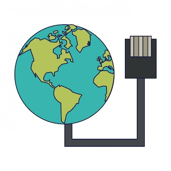 Monde avec la technologie de fil usb