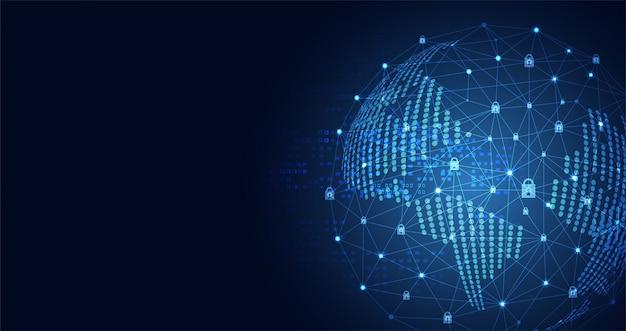 Monde technologique cyber sécurité confidentialité icône réseau d'information
