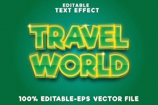 Monde de voyage vert à effet de texte modifiable avec un style moderne
