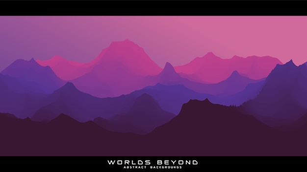 Des Mondes Au-delà Du Paysage Abstrait Vecteur gratuit
