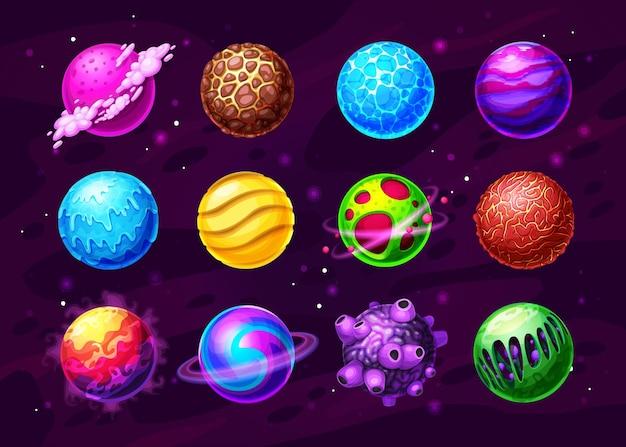 Mondes extraterrestres dans un ensemble de dessins animés de l'espace lointain