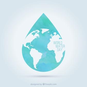 Mondiale chute de la journée de l'eau dans la conception plat