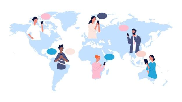 Mondialisation. avatars de personnes sur la carte du monde. communication internationale, amitié en ligne. homme multiculturel de femme de différents pays ensemble illustration vectorielle. monde des affaires mondial