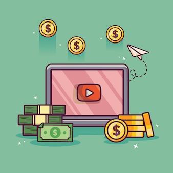 Monétiser des vidéos avec de l'argent et de l'argent illustration d'icône de dessin animé