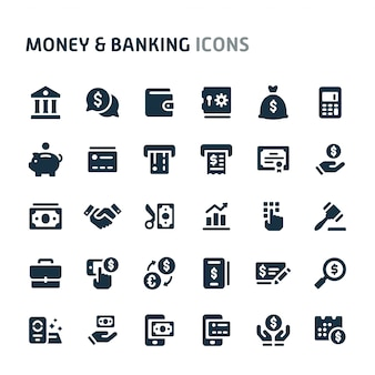 Money & banking icon set. série d'icônes fillio black.