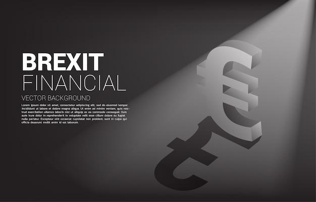 Money euro currency icon 3d avec l'ombre de la livre sterling.