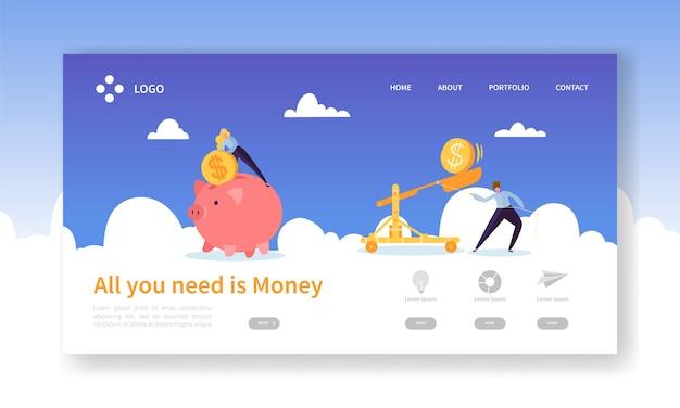 Money pig économisant pour la page de destination de profit
