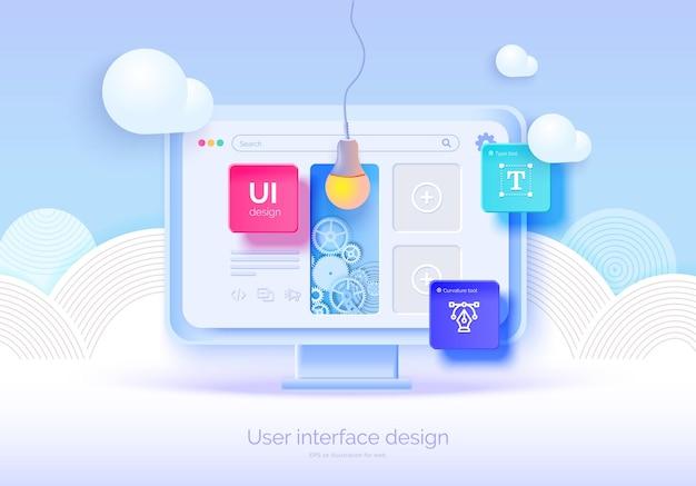 Moniteur 3d de maquette avec des éléments d'interface utilisateur pour la conception de sites web créateur de logiciels conception d'expérience utilisateur d'interface utilisateur un ensemble d'outils pour créer une interface utilisateur ux développement web illustration vectorielle style 3d
