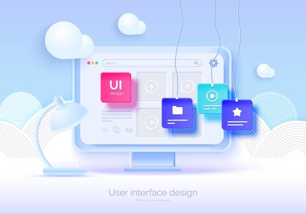 Moniteur 3d de maquette avec éléments d'interface utilisateur pour la conception web créateur de logiciels