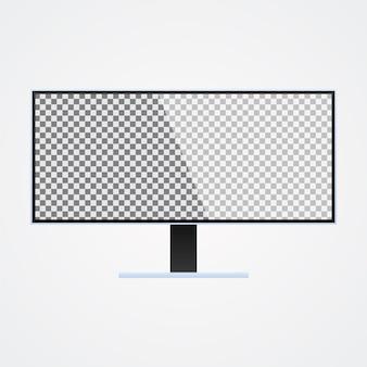 Moniteur d'affichage maquette avec écran transparent sur blanc ackgro