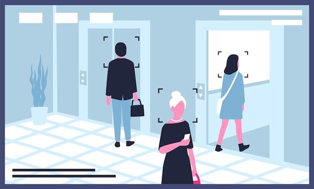Moniteur affichant la vidéo des caméras de surveillance ou de vidéosurveillance installées dans un immeuble de bureaux
