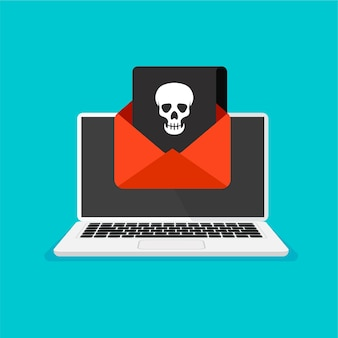 Moniteur et avertissement de virus dessus piratage de courrier ou d'ordinateur icône de crâne sur un écran