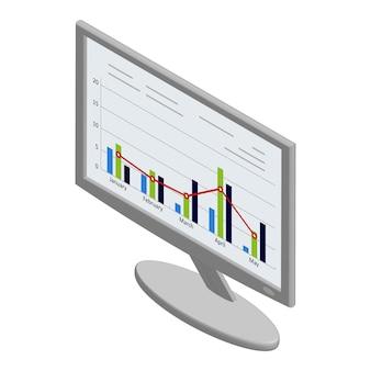 Moniteur isométrique avec des graphiques et des tableaux sur l'écran isolé sur blanc. vecteur eps10.
