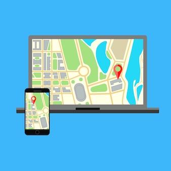 Moniteur d'ordinateur portable et téléphone avec navigation cartographique sur un écran. affichage d'écran d'ordinateur isolé sur bleu. illustration.