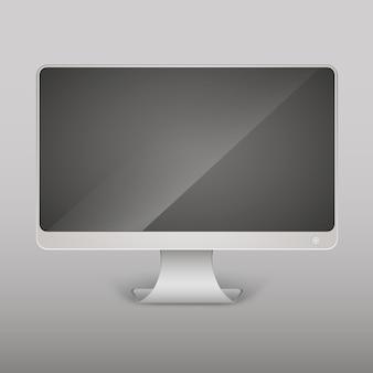Moniteur d'ordinateur vide réaliste de vecteur, écran isolé