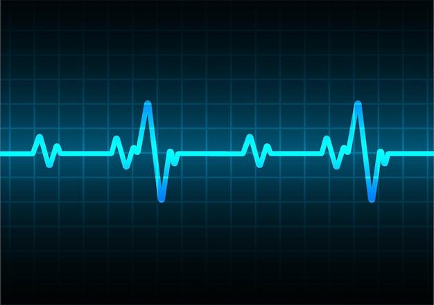 Moniteur de pouls coeur bleu avec signal onde d'icône ekg battement de coeur