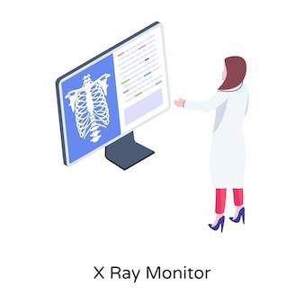 Un moniteur à rayons x téléchargez cette conception isométrique premium