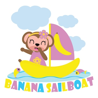 Monkey girl on banana sailboat vector cartoon background