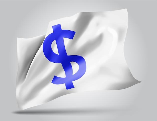 Monnaie dollar sur le vecteur 3d flag isolé sur fond blanc