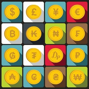 Monnaie de jeu d'icônes de différents pays