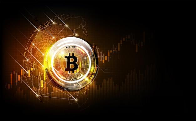 Monnaie numérique bitcoin argent numérique futuriste sur le réseau mondial de la technologie hologramme mondiale