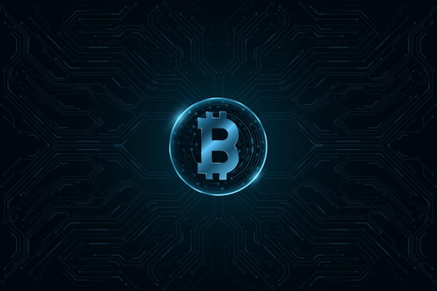 Monnaie numérique bitcoin avec motif cpu de l'ordinateur.
