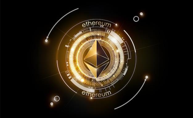 Monnaie numérique ethereum, argent numérique futuriste, concept de réseau mondial de technologie or