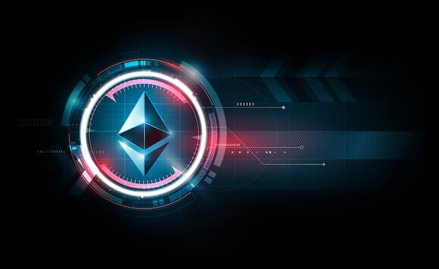 Monnaie numérique ethereum, fond de technologie futuriste