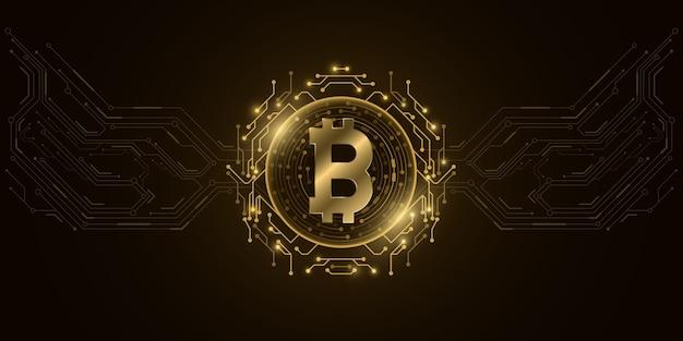 Monnaie Numérique Futuriste Bitcoin Doré. Vecteur Premium