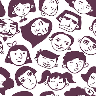Monochome tête transparente motif homme femme garçon fille vieux caucasien arabe visages asiatiques