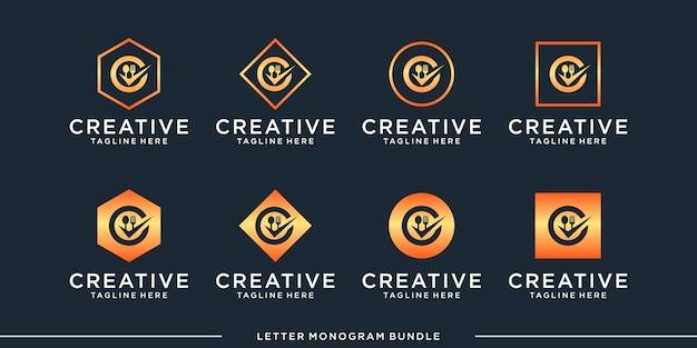 Monogramme abstrait initial c, modèle de conception de logo