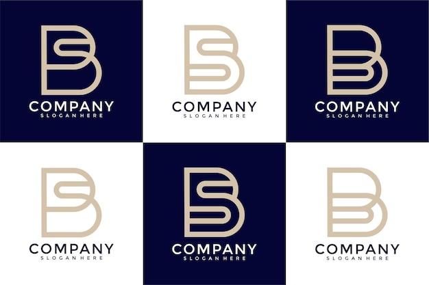 Monogramme de collection de logo de lettre b